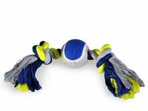Katoenen koord 2 knopen+tennis blauw-geel 30cm