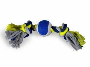 Katoenen koord 2 knopen+tennis blauw-geel 26cm