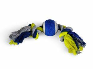 Katoenen koord 2 knop+tennis blauw-geel 20cm