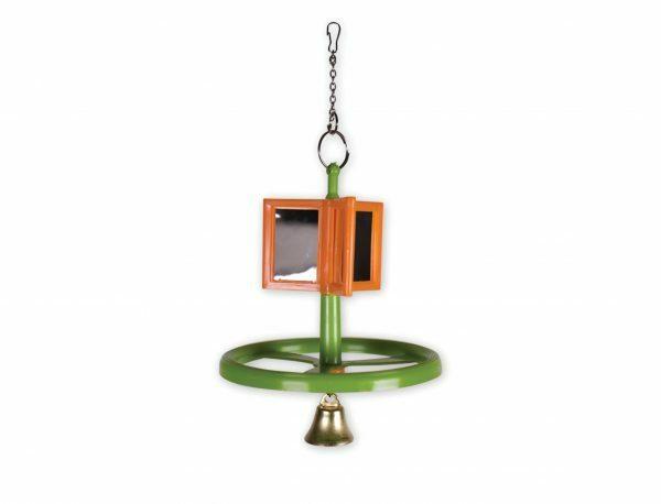 Speelgoed vogel draaimolen met spiegel 10cm