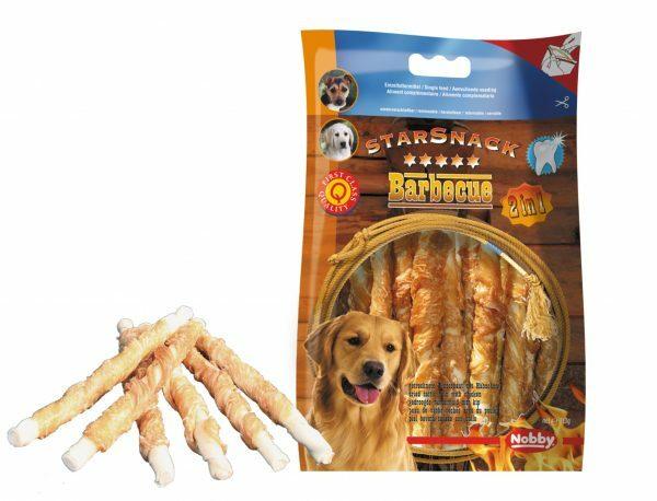 Snack hond kip stick omwikkeld 113g/12,5cmxØ7-8mm