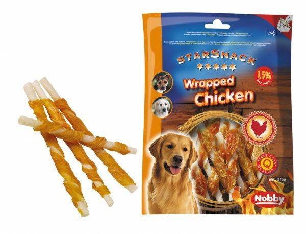 Snack hond kip stick omwikkeld 375g/12,5cmxØ7-8mm