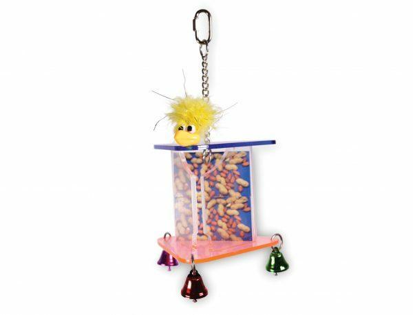 Vogelspeelgoed + pindahouder 3 x14x14 cm