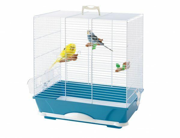 Kooi kleine vogel Primo 40 wit/blauw 46x32x48cm
