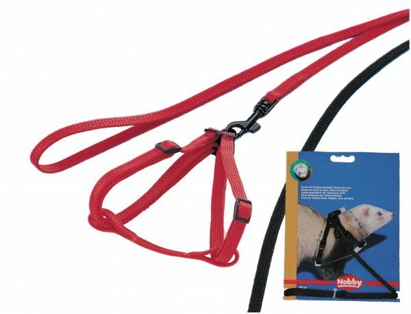 Harnas & leiband fret rood 10 mm x 20-25 cm