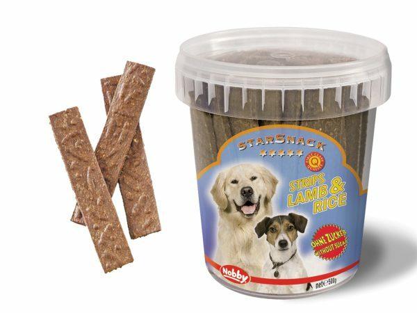 Snack hond emmer strips lam en rijst 500gr