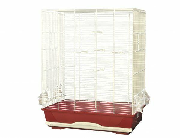 Kooi kleine vogel Ambra wit/bordaux 56,5x36,5x74cm
