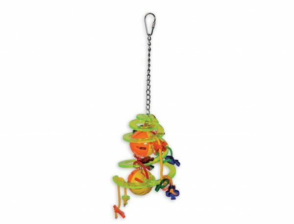 Speelgoed vogel plexi spiraal multikleur 32cm