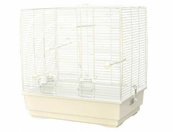 Kooi kleine vogel  Moira wit/wit 51x36x54cm