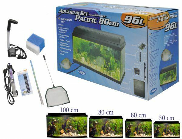 Aquarium kit + biofilter Pacific 80x30x40cm 96L