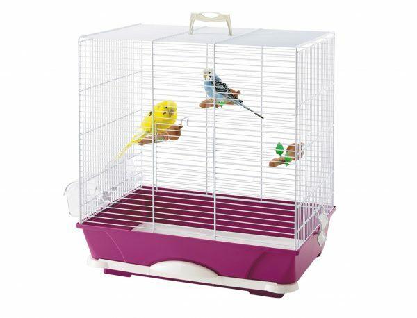 Kooi kleine vogel Primo 40 wit/fuchsia 46x32x48cm