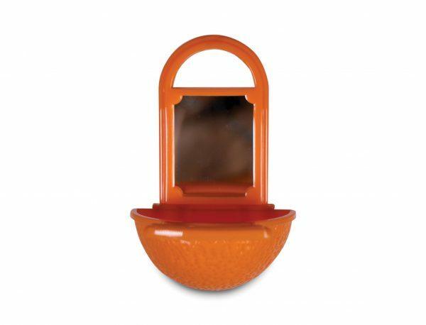 Speelgoed vogel snackpot met spiegel oranje 11cm