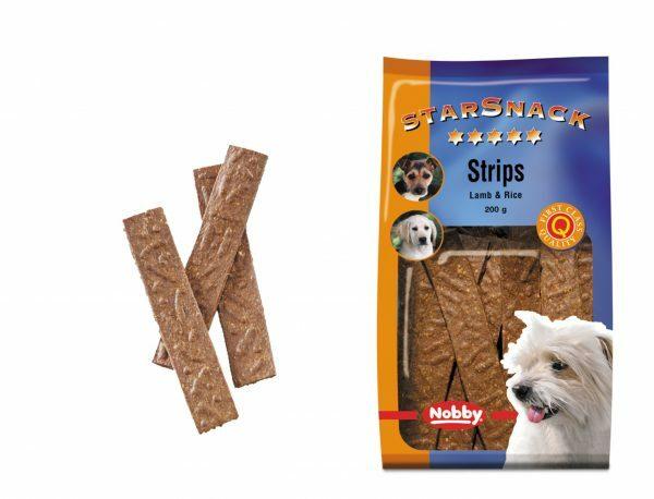 Snack hond strips lam en rijst  200gr