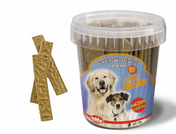 Snack hond emmer strips kip 500gr