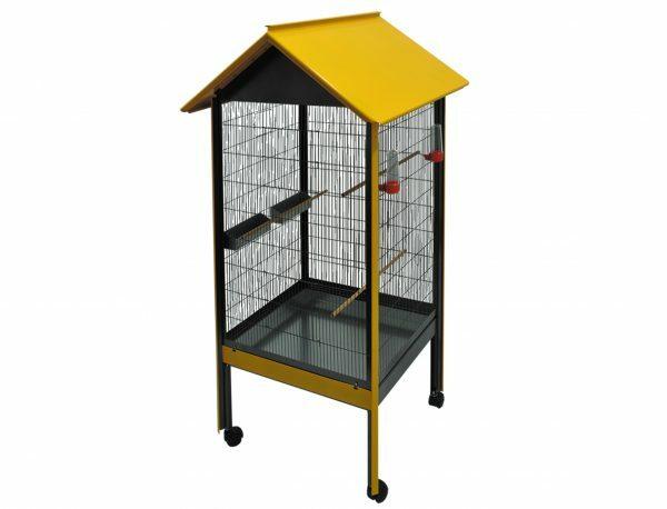 Volière Carat antraciet met geel dak 77x70x159cm