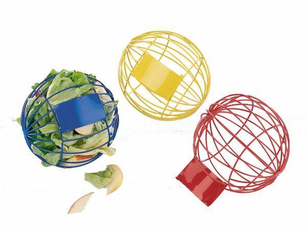 Voederbal knaagdier blauw + rood + geel 10 cm