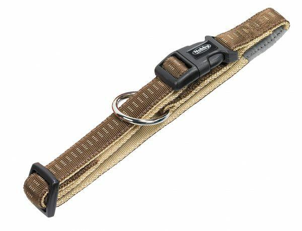 Halsband hond nylon Soft Grip bruin 25mmx40-55cm