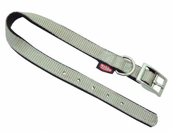 Halsband nylon dubbel zwart/grijs 25mmx65cm