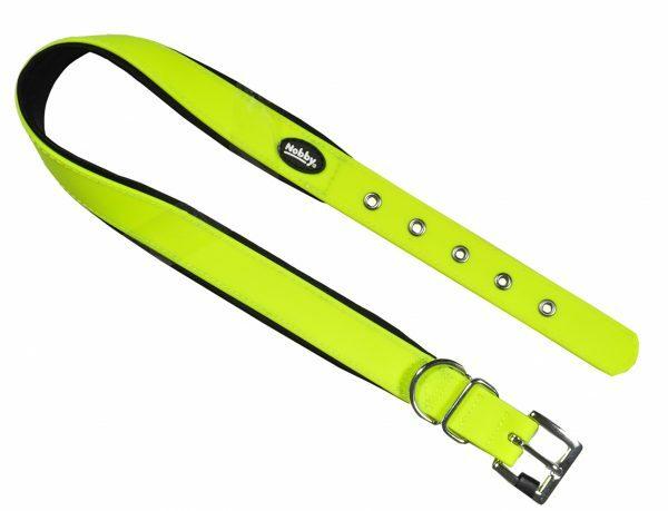Halsband hond Biothane neon geel 25mmx45-55cm