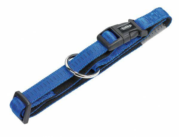 Halsband hond nylon Soft Grip blauw 15mmx25-35cm