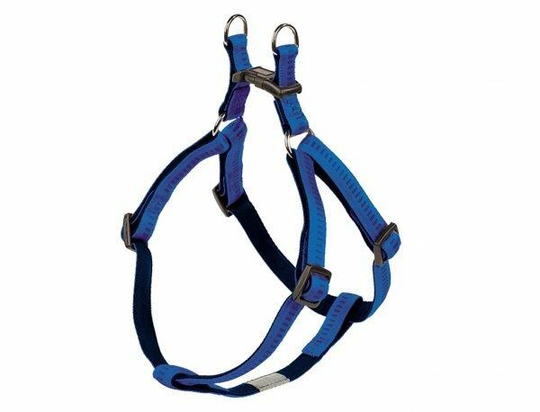 Harnas hond nylon Soft Grip blauw 20mmx50-72cm