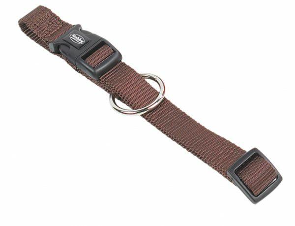 Halsband hond nylon Classic bruin 10mmx13-20cm