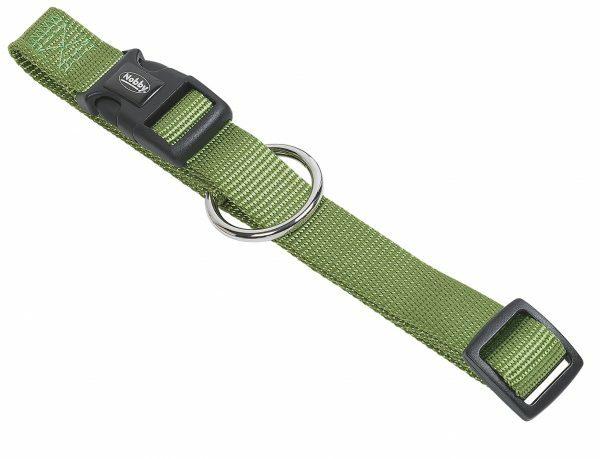 Halsband hond nylon Classic groen 10mmx13-20cm