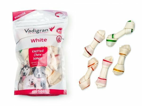 White Kauwbeen geknoopt mixcolor 150g/11,25cm (5)