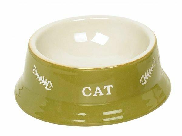 """Eetpot kat aardewerk """"cat"""" groen Ø13,5cm"""