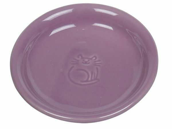 Schaal kat aardewerk paars Ø14cm