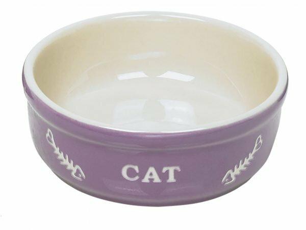 """Eetpot kat aardewerk """"cat"""" paars  Ø14cm"""