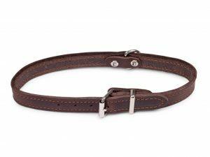 Halsband geolied leder bruin 47cmx18mm M-L