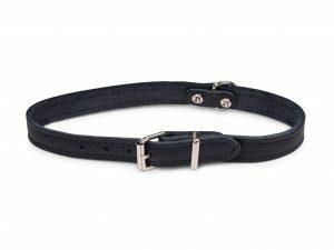Halsband geolied leder zwart 47cmx18mm M-L