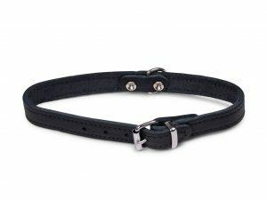 Halsband geolied leder zwart 37cmx14mm S