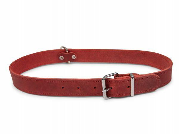 Halsband geolied leder rood 70cmx30mm XXL