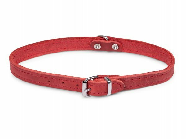 Halsband geolied leder rood 42cmx16mm M