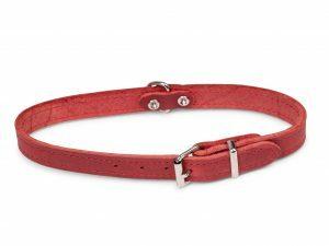 Halsband geolied leder rood 47cmx18mm M-L