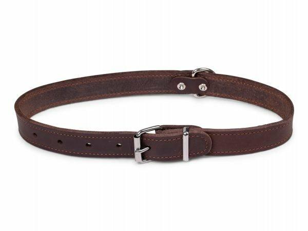 Halsband geolied leder bruin 70cmx30mm XXL
