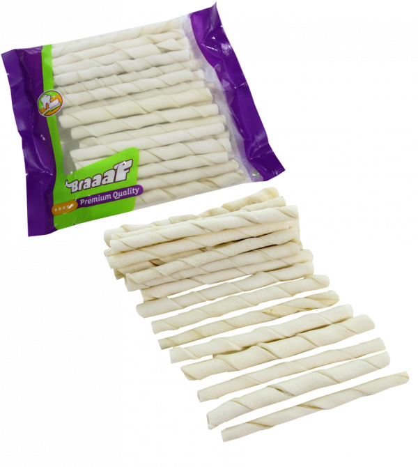 Braaaf White Rawhide Sticks 12.5 cm