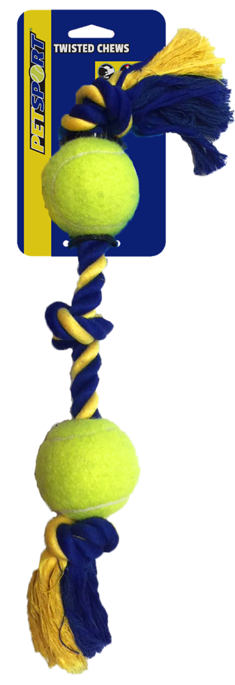 Medium 3-Knot Cotton Rope 43 cm with 2 Tuff Balls (6 cm)