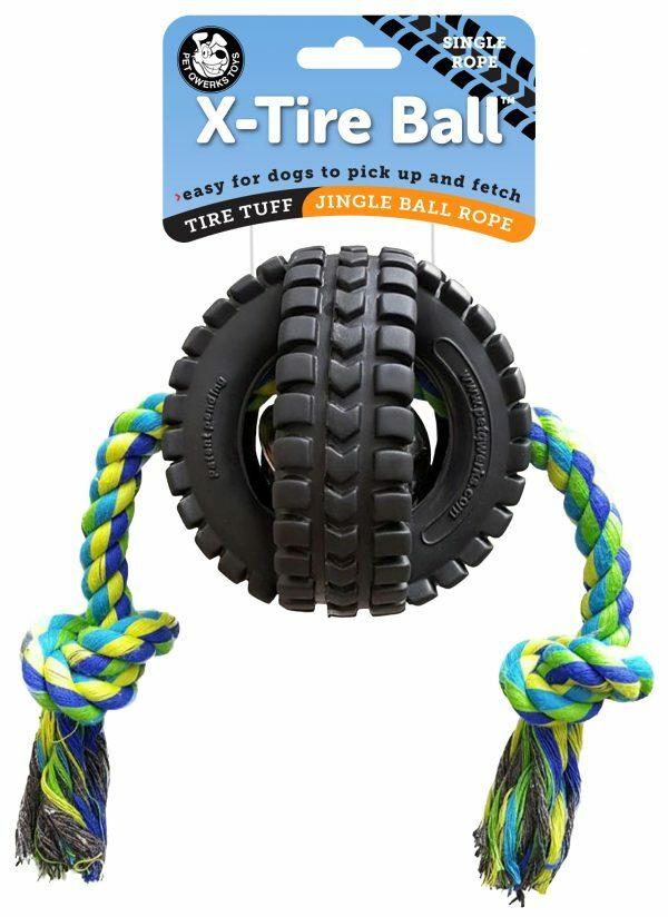 Pet Qwerks Jingle X-Tire Ball w/single rope Small ø 8 cm