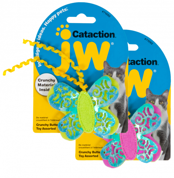 JW Cataction Crunchy Butterfly Toy assorti