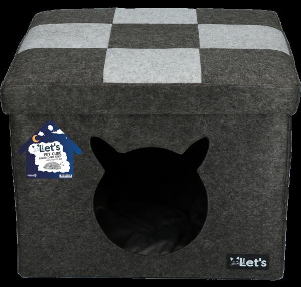 Let's sleep Pet Cube licht/donker grijs