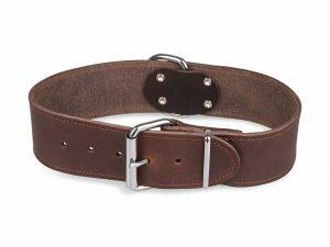Halsband Large geolied leder bruin 55cmx40mm L