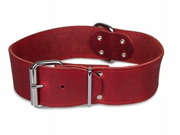 Halsband Large geolied leder rood 65cmx50mm XL