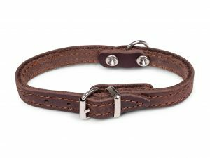 Halsband geolied leder bruin 27cmx12mm XXS