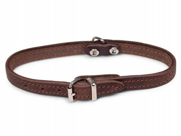 Halsband geolied leder bruin 32cmx12mm XS