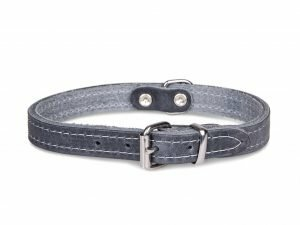 Halsband geolied leder grijs 42cmx16mm M