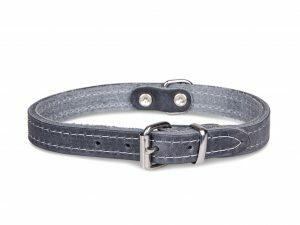 Halsband geolied leder grijs 27cmx12mm XXS
