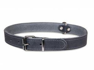 Halsband geolied leder grijs 70cmx30mm XXL
